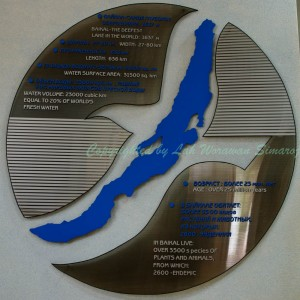 รูปร่างของทะเลสาบไบคาลและข้อมูลบางส่วนที่หน้าพิพิธภัณฑ์ไบคาล