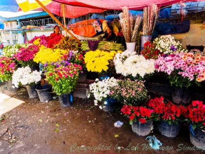 Flower shop in front to Myitkyina fresh market.