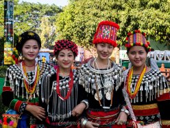 Beautiful ladies in different tribal costumes of Kachin.