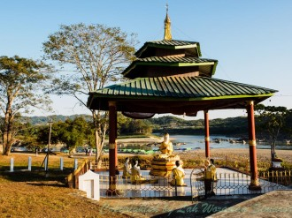 Behind the buddha image is where two rivers combine and Irrawaddi begins