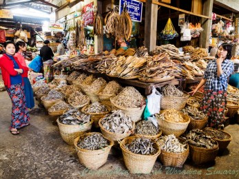 Dried fish in the market.