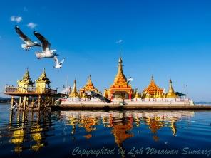 Shwe Myint Zu, the floating pagoda in the lake.