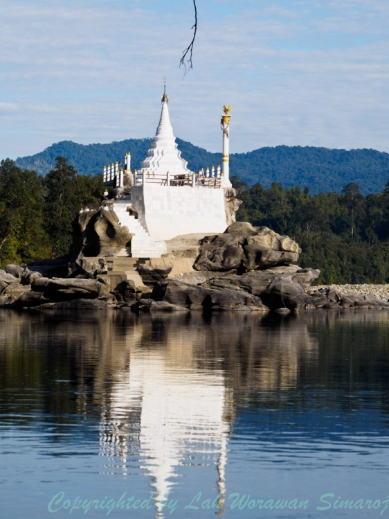 White pagoda in the mid of Mali Kha river