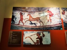 The details of ancient fresco inside a Thracian tomb.