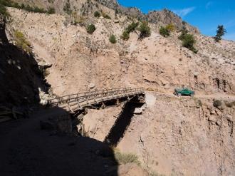 Broken bridge. Only walking was allowed, no vehicle.